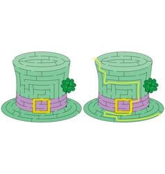 Easy green hat maze vector