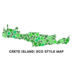 eco green collage crete island map vector image