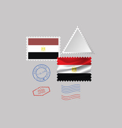 Egypt flag postage stamp set isolated on gray vector