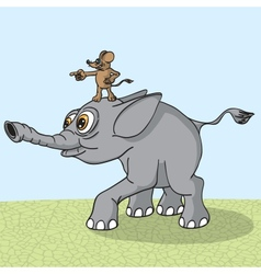 Elephant runs naprvlyaemy mouse vector image