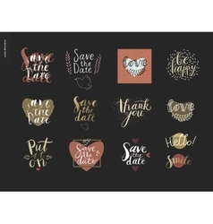 Engagement and wedding lettering vector image