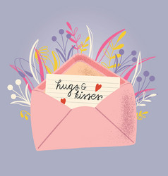 Envelope with love letter colorful hand drawn vector