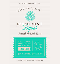 family recipe fresh mint liquor acohol label vector image