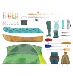 Fishing sport equipment and fisherman gear icon vector