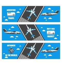 Flat banners airport vector