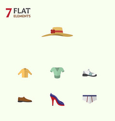 Flat garment set of heeled shoe underclothes vector