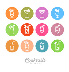 Flat icon design isolated cocktails icons vector