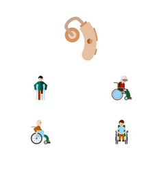 Flat icon disabled set injured disabled person vector