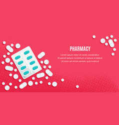 flat style banner with medical drugs tablets vector image