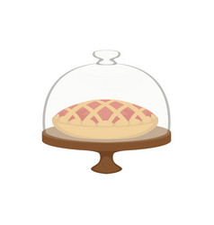 Fresh baked pie with lattice top in dome glass vector
