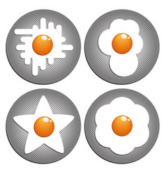 fried eggs figured fried eggs on the pan vector image