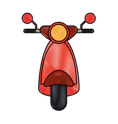 front scooter red vespa vector image