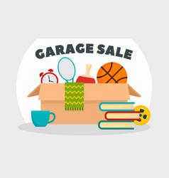 Garage sale concept banner flat style vector