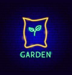 garden neon label vector image