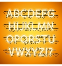 Glowing Neon Honey Yellow Alphabet vector