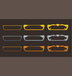 Golden silver and bronze frames set vector