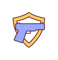 Gun for sense security rgb color icon vector