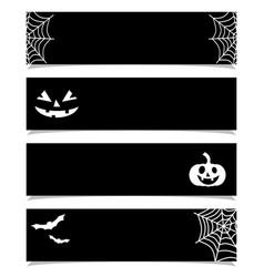 halloween banners or headers set black background vector image