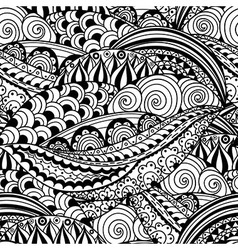 Hand-drawn black and white seamless pattern vector image