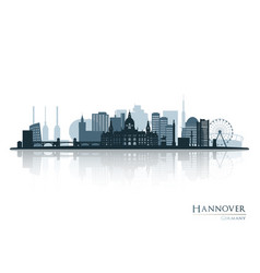 Hannover skyline silhouette with reflection vector