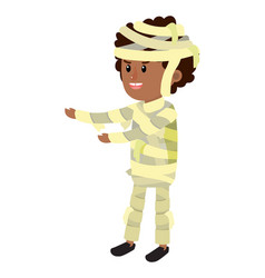 Happy boy with mommy costume in halloween vector