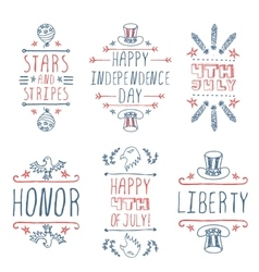 Happy Independence day handlettering elements vector image