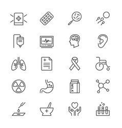 Health care thin icons vector