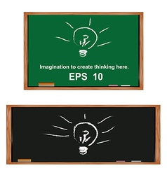Lamp on blackboardGenerate ideas and imagination vector image