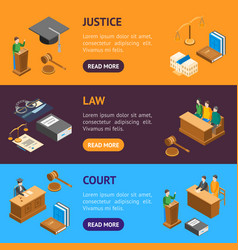 law court 3d banner horizontal set isometric view vector image