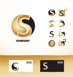 Letter S gold black yellow logo vector