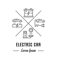 Line banner electric car vector