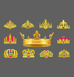luxurious gold crowns inlaid with ruby stones set vector image