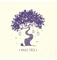 Magic tree silhouette vector