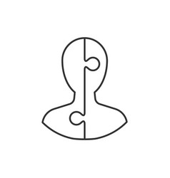 man avatar on puzzle outline icon on white vector image