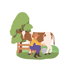 milkmaid milking cow with bucket under udder vector image