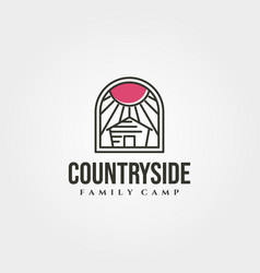Minimal cottage with sunburst icon logo symbol vector