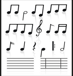 music icons set of notes vector image