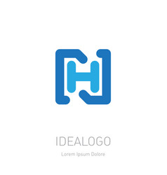 n and h initial logo nh - design element or icon vector image