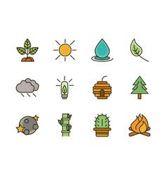 nature foliage botanical ecology drawing icons set vector image