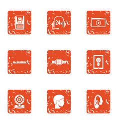 Online seek icons set grunge style vector