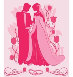 Ornate Bride and Groom Silhouette vector