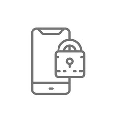 Padlock with phone locked smartphone line icon vector