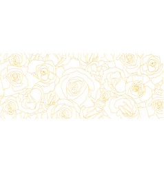 pattern from roses buds in outline style vintage vector image