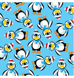 penguins on turn blue background vector image