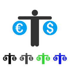 person compares currency flat icon vector image