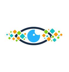 pixel eye logo icon design vector image