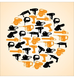 Power tools black and yellow icons in circle eps10 vector