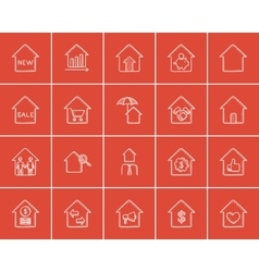 Real estate sketch icon set vector image