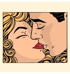 Retro kiss man and woman love couple vector