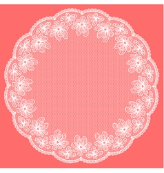 Round white lacy frame on pink background vector image